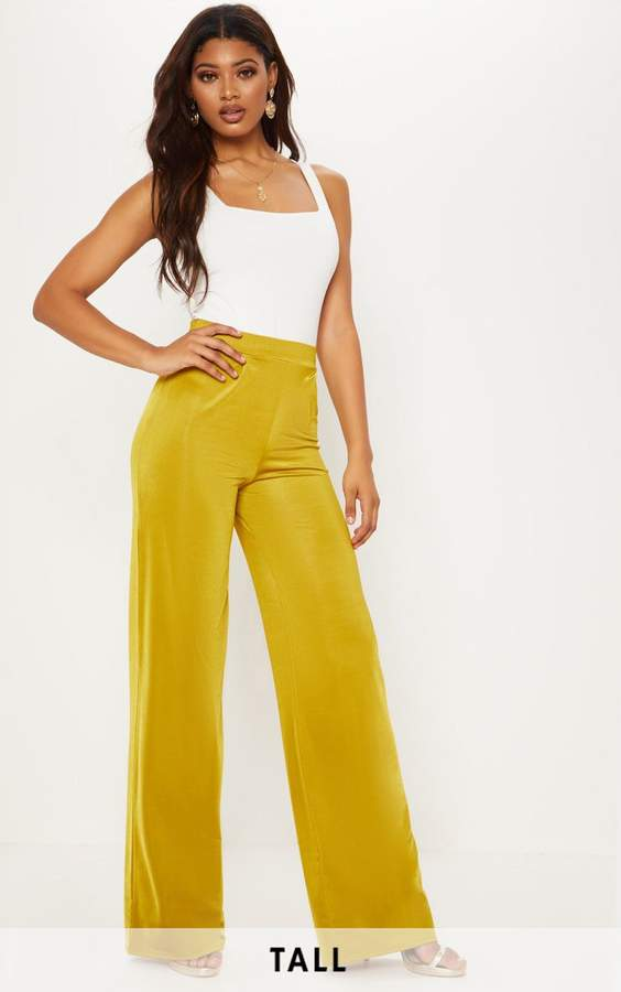 Tall Olive Slinky Wide Leg Trousers