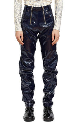 Gmbh High-Waisted Double-ZIp Vinyl Trosuer