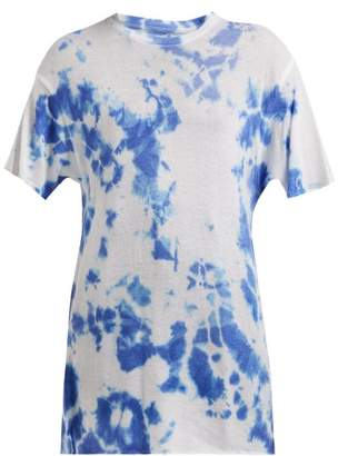 The Elder Statesman Tie Dye Cashmere And Silk Blend T Shirt - Womens - White Multi