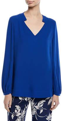Escada V-Neck Long-Sleeve Silk Tunic