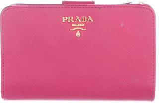Prada Saffiano Compact Wallet $395 thestylecure.com