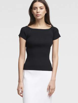 DKNY Ribbed Off-The-Shoulder Tee