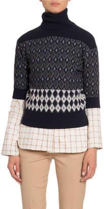 Chloé Colorblocked Wool Short-Sleeve Turtleneck Sweater