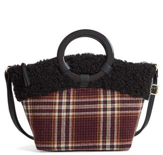 BP Ring Handle Plaid Tote with Faux Shearling Trim