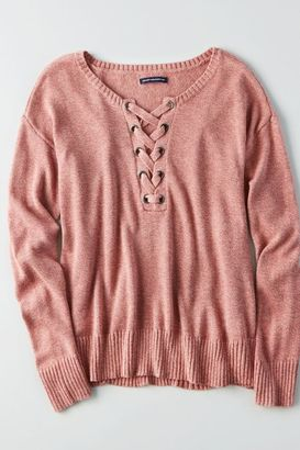 American Eagle Outfitters AE Lace-Up Front Sweater $39.95 thestylecure.com