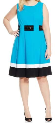 Calvin Klein Womens Plus Colorblock Sleeveless Casual Dress