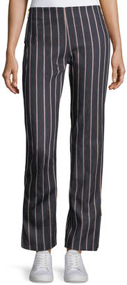 Neiman Marcus Maggie Marilyn Loyal Companion Slim Straight-Leg Striped Denim Pants