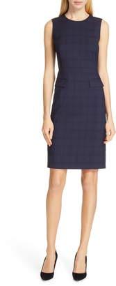 BOSS Docanes Modern Check Wool Dress