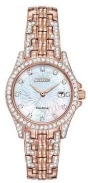 Citizen Silhouette Crystal Rose Goldtone Watch, EW1228-53D
