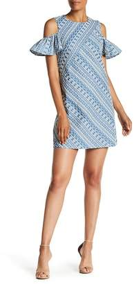 Laundry by Shelli Segal Embroidered Cold-Shoulder Chambray Dress