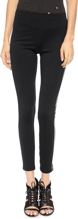 David Lerner Tuxedo Leggings with Faux Leather