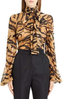 Dolce & Gabbana Tiger Print Stretch Silk Blouse