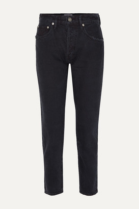 A Gold E Agolde AGOLDE - Jamie Cropped Distressed Organic High-rise Straight-leg Jeans - Black