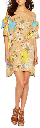 Nicole Miller Nicole By Short Sleeve Floral Shift Dress