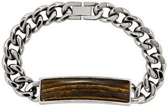 FINE JEWELRY Mens Tigers Eye Stainless Steel Chain Bracelet