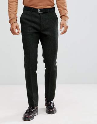 Asos Slim Suit Pants In 100% Wool Harris Tweed In Green Herringbone