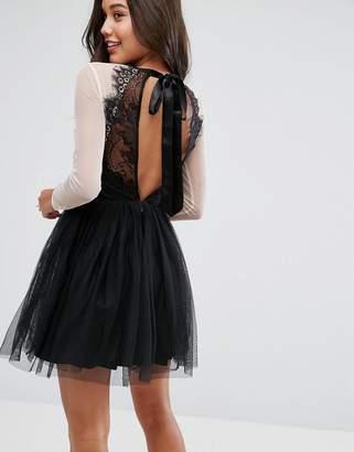 Asos DESIGN PREMIUM Sheer Top Tulle Mini Prom Dress