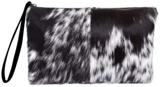MAHI Leather - Classic Clutch Bag In Black and White Pony Fur