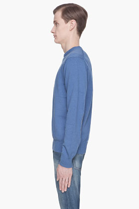Paul Smith Blue knit elbow patch sweater