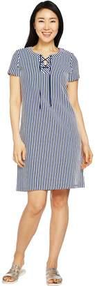 C. Wonder Short Sleeve Striped Lace-Up Knit Dress
