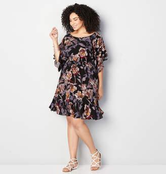 Avenue Bell Sleeve Blouson Flounce Dress