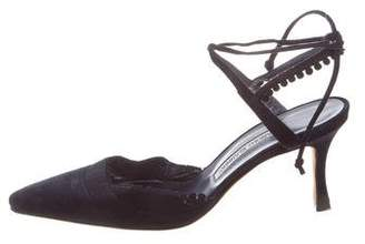 Manolo Blahnik Lace-Up Pointed-Toe Pumps