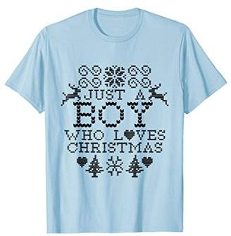 Just A Boy Who Loves Christmas Holiday Shirt For Men Kids