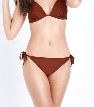 New Look Rust Tie Side Bikini Bottoms