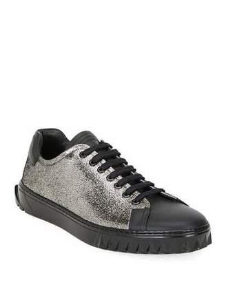 Salvatore Ferragamo Men's Cube Two-Tone Metallic Leather Sneakers