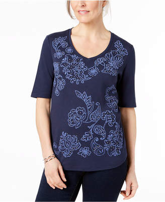 Karen Scott Printed Studded T-Shirt, Created for Macy's