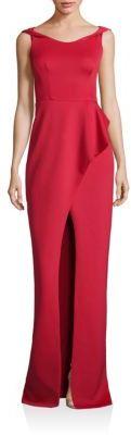 Black Halo Draped Peplum Gown $575 thestylecure.com