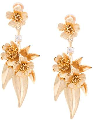Oscar de la Renta delicate flower drop earrings