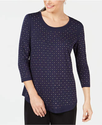 JM Collection Petite Studded 3/4-Sleeve Top