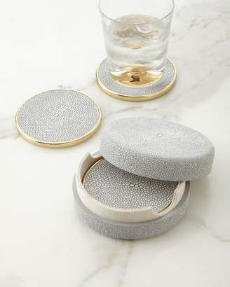 AERIN Dove Shagreen Coasters