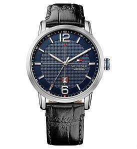 Tommy Hilfiger Mens George 3 Hand With Date Rnd Blk Strap