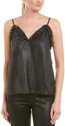 Rebecca Taylor Metallic Plaid Silk-Blend Cami Top