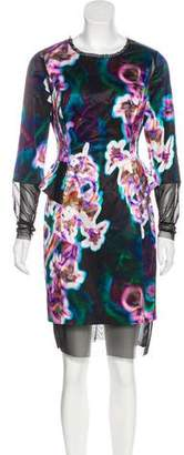 Milly Watercolor Print Knee-Length Dress