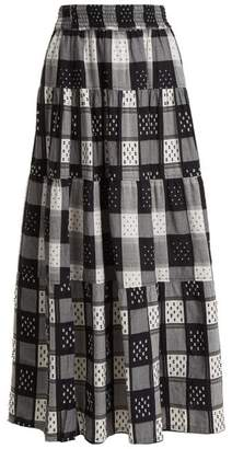Ace&Jig Mojave Panelled Checked Cotton Skirt - Womens - Black White