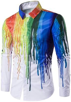 YTQ Men's Casual Stylish 3D Printing Rainbow Watercolor Paint Long Sleeve Dress Shirt