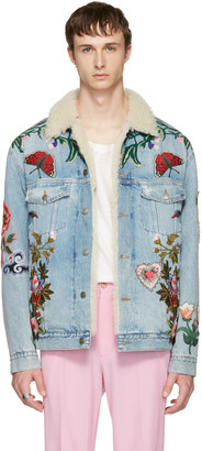 Gucci Blue Embroidered Shearling Denim Jacket $6,890 thestylecure.com