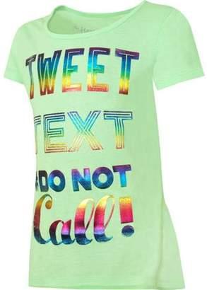 Hanes Girls Printed Short Sleeve Ruffle Shirttail T-shirt