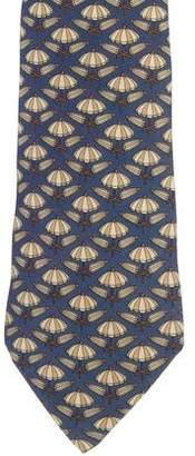 Hermes Umbrella Print Silk Tie