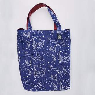 Blade + Blue Astrological / Nautical Print Reversible Tote Bag
