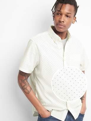 Gap Print Poplin Short Sleeve Shirt in Stretch