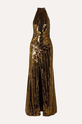 Galvan Cutout Sequined Tulle Gown - Gold