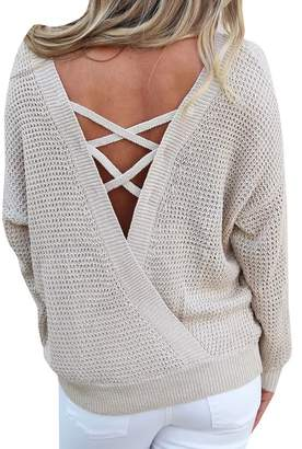 FOUNDO Women Sexy Round Neck V Criss Cross Backless Pullover Sweater Jumper Top S