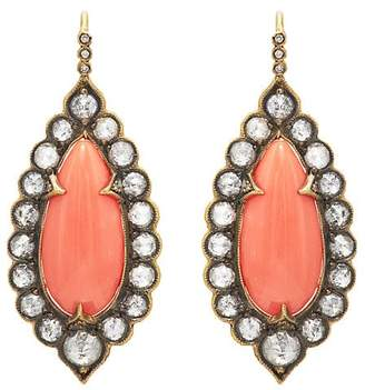 Cathy Waterman Women's Diamond & Vintage Coral Drop Earrings