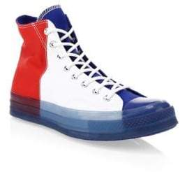 Converse Men's Translucent Midsole Chuck 70 High-Top Colorblock Canvas Sneakers - Red White Blue - Size 12 UK (13 US)