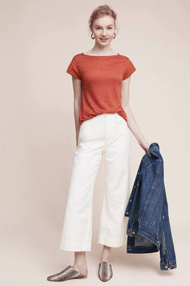 James Coviello Laced-Sleeve Linen Tee $78 thestylecure.com