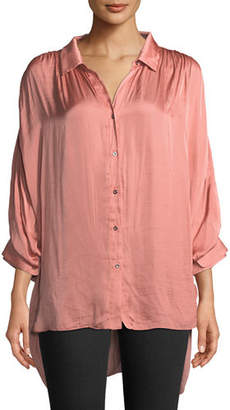 Halston Ruched Satin Button-Up Blouse
